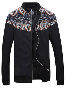 QZUnique Men's Fashion Casual Front-Zip Jacket Printing Pattern Outwear Thermal Black 3XL
