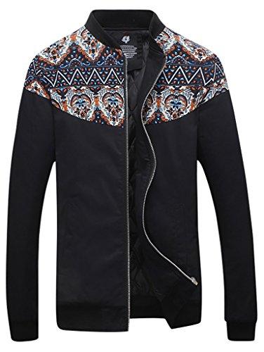 QZUnique Men's Fashion Casual Front-Zip Jacket Printing Pattern Outwear Thermal Black 3XL