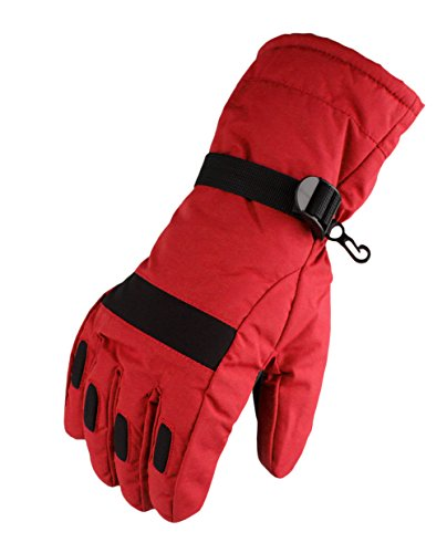 Waterfly® Fashion Men's Warm Waterproof Winter Outdoor Glove Cycling Gloves Biking Gloves Snowmobile Snowboard Ski Gloves Athletic Gloves Mittens (Red)