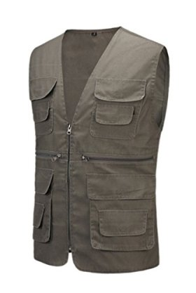 Geval Cotton Men's Multiple Pockets Photography Director Work Vest(Dark Grey,S)