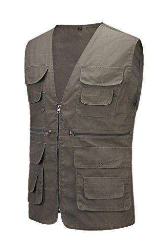 Geval Cotton Men's Multiple Pockets Photography Director Work Vest(Dark Grey,S)