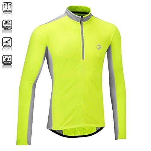 Tenn Mens Coolflo L/S Cycling Jersey – Hi-Viz Yellow/Grey – Med