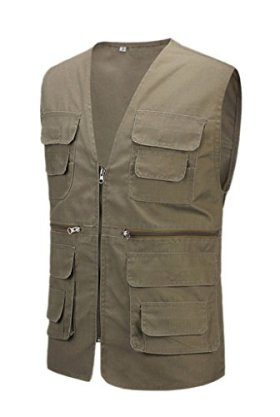 Geval Cotton Men's Multiple Pockets Photography Director Work Vest(Army Green,XL)