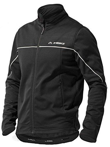 Inbike Winter Men's Fleeced Athletic Jacket Soft Shell Coat Windbreaker Thermal Tech Clothing (XL, TJJ)