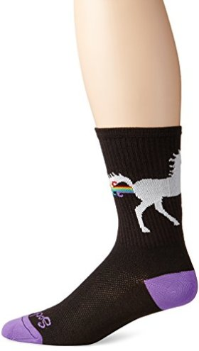 SockGuy Men's Unicorn Express Socks, Black, Small/Medium