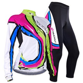 Sponeed Women's Cycle Jersey Bike Clothing Gel Padded Racing Long Sleeve Size L US Multi
