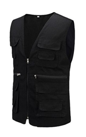 Geval Cotton Men's Multiple Pockets Photography Director Work Vest(Black,M)
