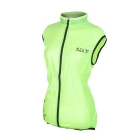 NSR Women's Wind Stop Vest, Neon Yellow, Medium