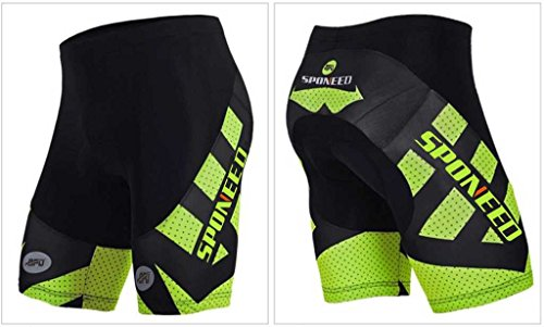Sponeed Men's Cycle Shorts Tights Bicycle Bike Padded Short Hornet Green Size M US Multi