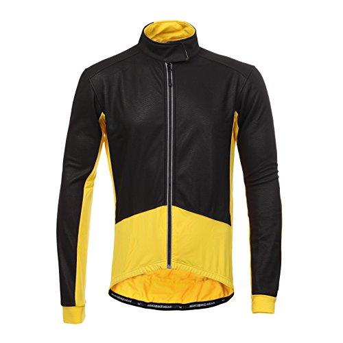 Long Sleeve Thermal Barrier Cycling Biking Windproof Firewall Winter Jacket (Large, Yellow)