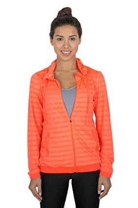 RBX Active womens Ventilated Jacquard Mesh Full Zip Hoodie,Orange,Medium