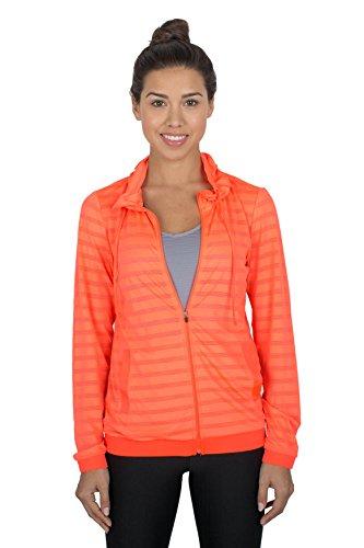 RBX Active womens Ventilated Jacquard Mesh Full Zip Hoodie,Orange,Medium