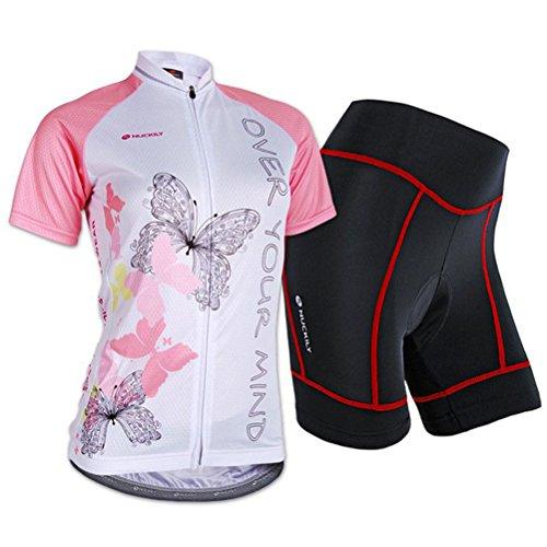 Sponeed Women's Cycle Jersey Bike Clothing Gel Padded Short Sleeve Butterfly Size XL US Pink
