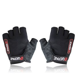QEPAE ® Non-Slip Gel Pad Gloves Men's Women's Sportswear Cycling Riding Short Half Finger Gloves Breathable-M Black