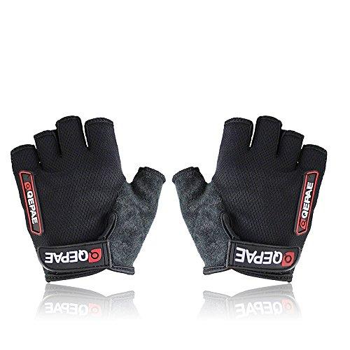 QEPAE ® Non-Slip Gel Pad Gloves Men's Women's Sportswear Cycling Riding Short Half Finger Gloves Breathable-M Black