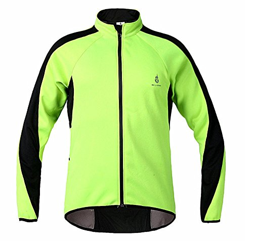 Anhvuu Fleece Thermal Cycling Jacket Jersey Long Sleeve Windproof UV-Protect Coat Green L
