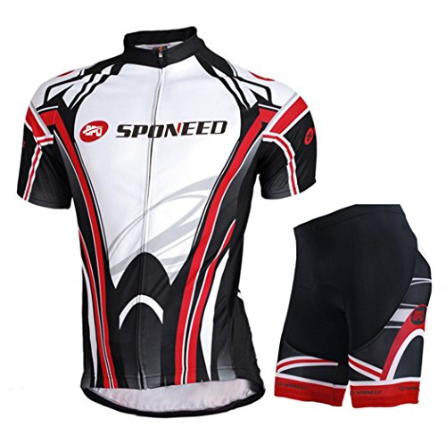 Sponeed Men's Bicycle Jersey Polyester and Lycra Lights Size M US Multi