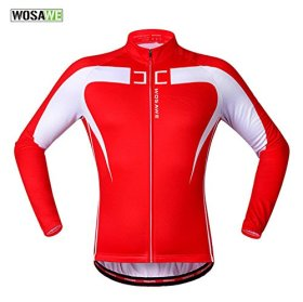 Anhvuu Thermal Fleece Cycling Jersey Shirt Casual Jacket Long Sleeve Red white Size XXL