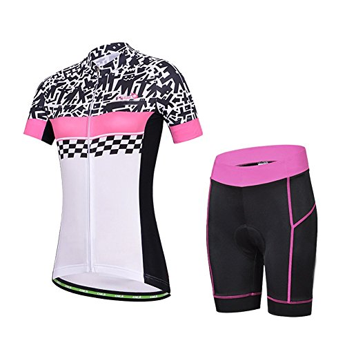 Baleaf Women's Short Sleeve Cycling Jersey 3D Padded and Shorts Set Doodle Style Size M