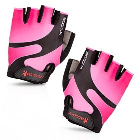 Maso Cycling Gloves with Shock-absorbing Foam Pad Breathable Half Finger Bicycle Riding Gloves Bike Gloves B-001 (Pink, Medium)