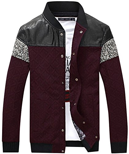 QZUnique Men's Plus Fashion Casual Jacket Big and Tall Press Studs Red 5XL