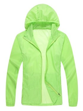 Unisex Lightweight Sun UV Protection Windproof Sports Rain Jacket(X-Large,aqua)