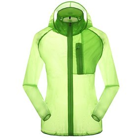 Women's Outdoor Anti UVA UPF 30+ Waterproof Quick-dry Thin Windbreaker Jackets Fruit Green CN Tag 2XL – US L