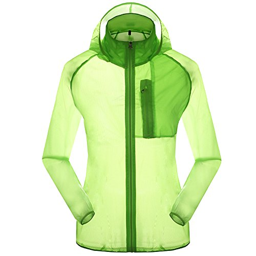 Women's Outdoor Anti UVA UPF 30+ Waterproof Quick-dry Thin Windbreaker Jackets Fruit Green CN Tag 2XL – US L