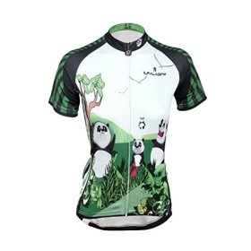 QinYing Panda Printing Short Sleeve Bicycle Cycling Jersey for Women