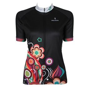 QinYing Colorful Flowers Women Breathable Cycling Jersey Shirt Short Sleeve XXL