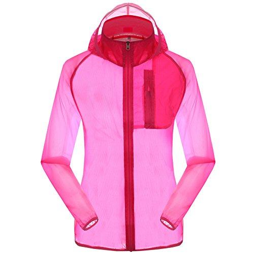 Women's Outdoor Anti UVA UPF 30+ Waterproof Quick-dry Thin Windbreaker Jackets Rose Red CN Tag 2XL – US L