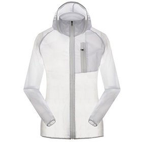 Women's Outdoor Anti UVA UPF 30+ Waterproof Quick-dry Thin Windbreaker Jackets White CN Tag 2XL – US L