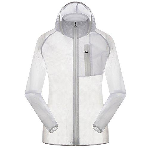 Women's Outdoor Anti UVA UPF 30+ Waterproof Quick-dry Thin Windbreaker Jackets White CN Tag 2XL – US L