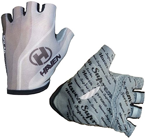 Cycling Gloves Haven SOLAR – Short – Enables to Sun tan Your Hands Smoothly – Durable, Light, Comfortable with Effective Pull-off System (White, Medium)