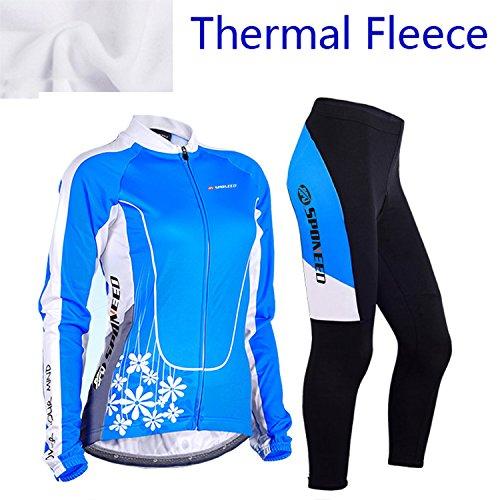 Sponeed Women's Cycle Jersey Bike Clothing Gel Padded Winter Jacket Fleece Size L US Multi