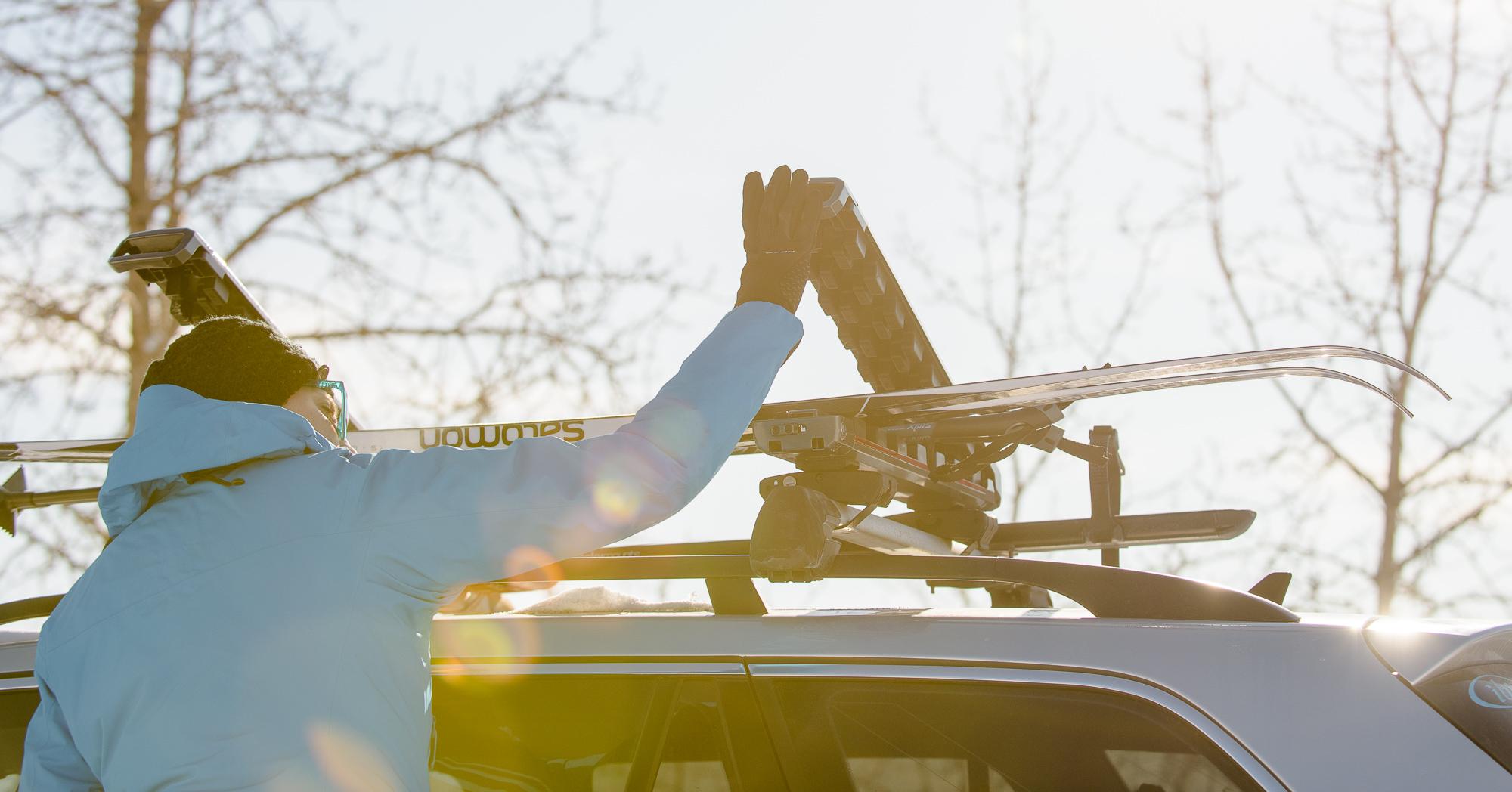 ski rack riding the rivet