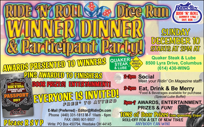 Ride N Roll 2017 WInner Dinner Participant Party