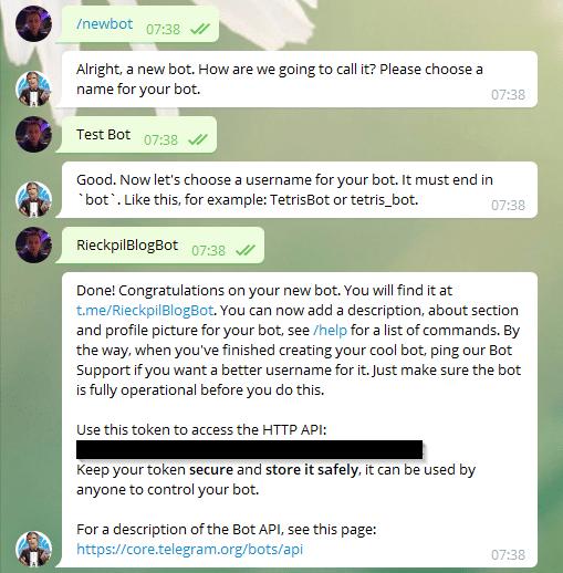 telegramBotCreationWithBotFather