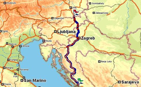 Van Sibenik naar de Oostenrijkse grens