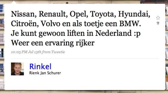 Je kan liften in Nederland
