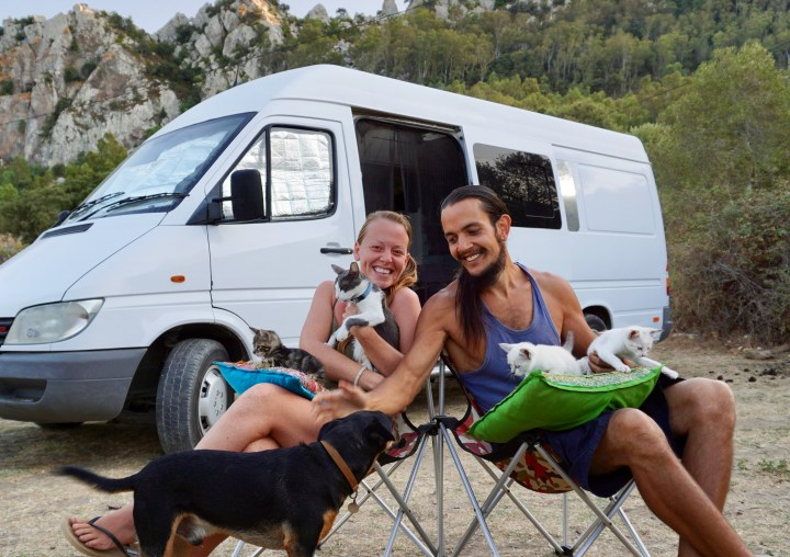 A family of 8 living in a self converted sprinter van