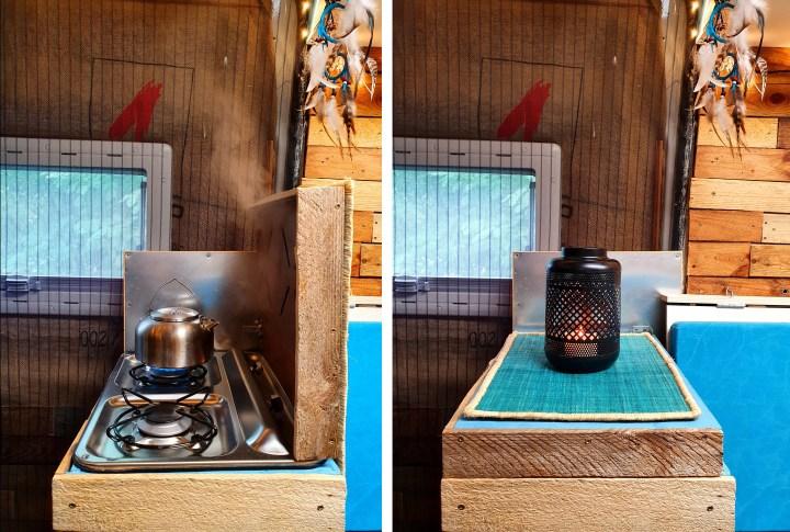 A two-burner gas hob self-build camper van