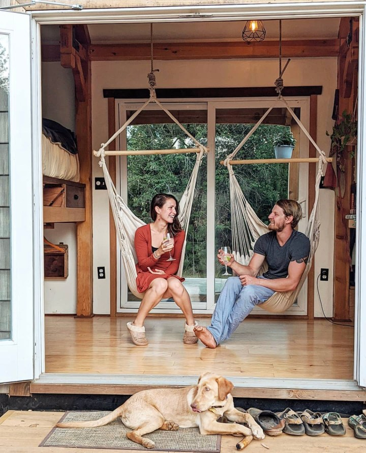 hanging chairs in a tiny house on wheels