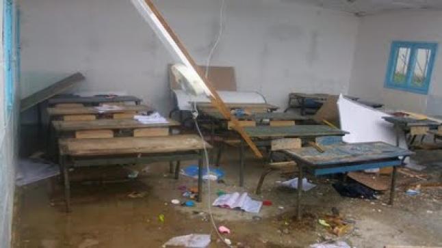 انهيار سقف قسم بمدرسة الشريعة بترقاع وسط الناظور