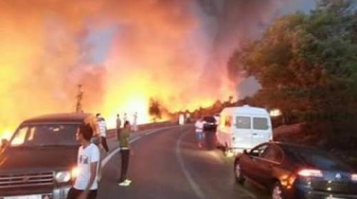 اندلاع حريق في غابة على الطريق الوطنية بين الحسيمة وشفشاون