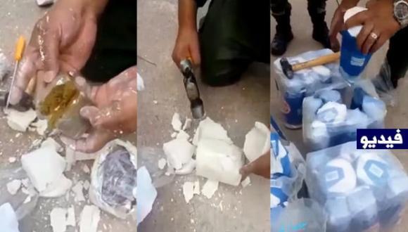 """إحباط حيلة جديدة لتهريب شحنة مخدرات عبر ميناء بني انصار بسكر """"القالب"""" (فيديو)"""