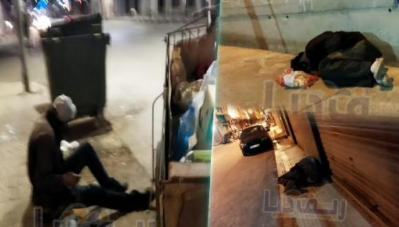 +صور: يفترشون الأرض ليلا و يتلحفون الفضاء بشوارع الناظور .. تقرير مصور عن أناس منسيين بالمدينة