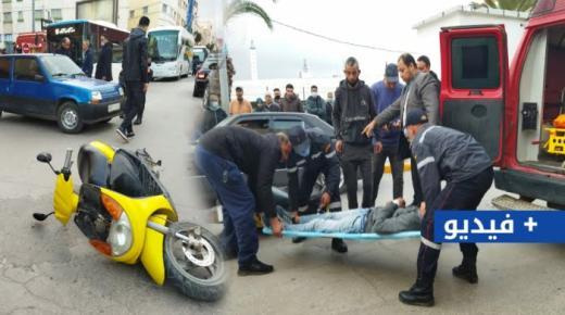 حادثة سير بالناظور تصيب بأضرار جسمانية بالغة سائق دراجة نارية