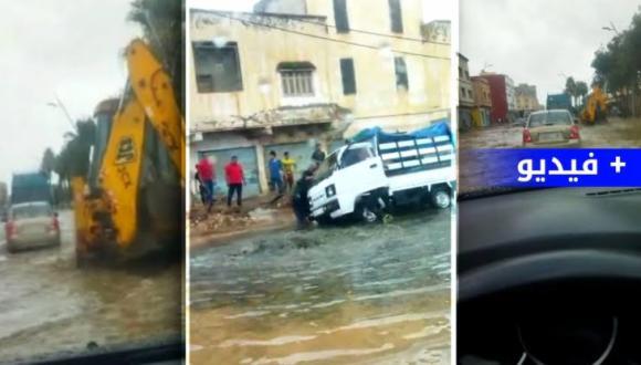 أضرار و مشاهد فاضحة بعد زخات مطرية بالطريق المؤدية صوب أزغنغان