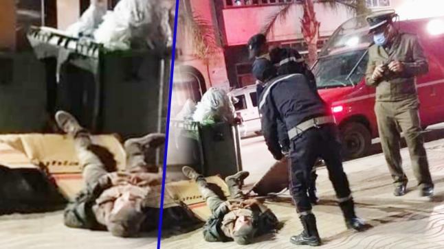 متشرد يقع مغشيا عليه على الاسفلت بشارع الجيش الملكي لهذا السبب.. (+صور)